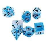 MagiDeal 7pcs D4-D20 Doppelfarbige Mehrseitige Würfel Spielwürfel für Brettspiel - Blau Weiss