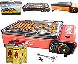 Camping BBQ Gasgrill Gasbräter Grill Tragbar Barbecue Tischgrill inkl. Grillplatte Grillaufsatz +...