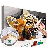 murando - Malen nach Zahlen 2.0 – Bilder Katze 60x40 cm – Malset mit Holzspannrahmen - DIY -...