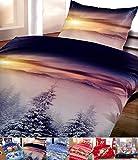 Winter Flausch Bettwäsche Weihnachten Motive Microfaser Thermo Fleece, 2x 135x200 cm + 2x 80x80 cm...
