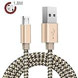 Zeuste 1.8m Premium Micro USB Nylon Kabel High Speed USB 2.0 Datenkabel Ladekabel für Android,...