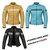 REXTEK Damen Motorradjacke - Echtlederjacke - Biker Lederjacke für Damen Stilvolle warme Jacke -...