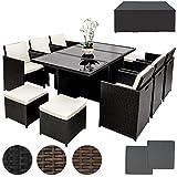 TecTake Poly Rattan Aluminium Gartengarnitur Sitzgruppe 6+1+4, Edelstahlschrauben - diverse Farben -...