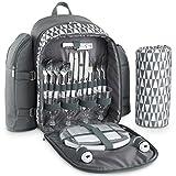VonShef Geo Picknick-Rucksack grau mit Decke für 4 Personen
