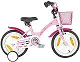 PROMETHEUS Mädchenfahrrad 14 Zoll in Rosa & Weiß mit Stützrädern | Seitenzugbremse und...