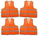4 Stück Warnweste, Sicherheitsweste, Pannenweste EN 471 orange mit Reflektorstreifen und...