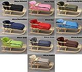 Holzschlitten mit Rückenlehne mit Winterfußsack Schlitten Holz   10 Farben (Schwarz)