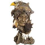 Indianer Krieger Figur mit Wolf Bison Adler Skull Büste Western Deko Wildwest