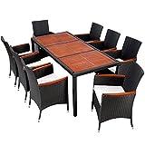 TecTake POLY Rattan Gartenmöbel Gartengarnitur Essgruppe Gartenset Sitzgruppe mit Holz Tischplatten...