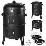 TecTake 3in1 BBQ Holzkohlegrill Barbecue Smoker Räuchertonne Räuchergrill mit Thermostat -diverse...