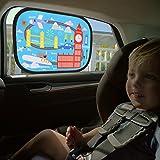 IntiPal Selbsthaftende Sonnenblenden Sonnenschutz Auto Baby Kinder 2er Pack (Reise auf der Welt)