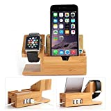 Apple Watch Ständer mit USB 2.0 Hub, Hapurs 2 in 1 iWatch Bamboo Holz Ladestation Ladestation...