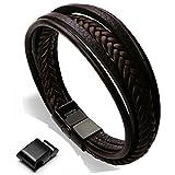 Murtoo Edelstahl Echtleder Armband schwarz braun geflochten mit Magnet Verschluss(22cm) (Braun)