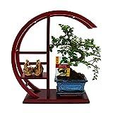 exotenherz Pflanzen, Zimmerbonsai im Bonsai-Rund-Regal mit Deko-Figur, grün, 30 x 30 x 52 cm,...