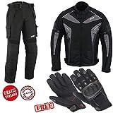 BOSMoto Motorradkombi Cordura Textilien Motorradjacke, Motorradhose,Handschuhen Schwarz, (XL)