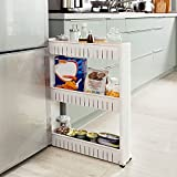 Nischenregal Küche,Nischenschrank Weiß,Küchenregal Aufbewahrung,Badregal,Ordnungswagen mit Rollen...