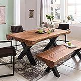 Esszimmertisch 200 x 100 x 77 cm Akazie Landhaus-Stil Voll-Holz - Design Esstisch rechteckig - Tisch...