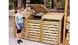 Mülltonnenbox aus Holz, Mülltonnenverkleidung - dreifach (für 3 Tonnen bis 240 Liter), wetterfest...