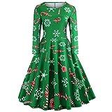 ‿ JUSTSELL Weihnachten 1950er 50er Kleider für Damen Herbst,Frauen Drucken Aline Swing Kleid...