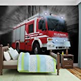 Feuerwehr Auto Fototapete Wandbild Bild Tapete VLIES (EasyInstall) (2023FW)