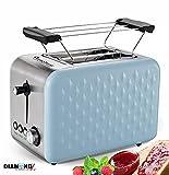 2 Scheiben Retro Toaster mit Brötchenaufsatz Vintage Design Edelstahl 850 Watt inklusive...