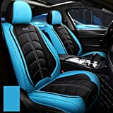 Autositzbezug, Vorne Hinten 5 Seat Full Set Universal Leder Four Seasons Pad Kompatibel Airbag Seat...