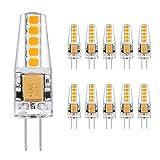 Ascher 10er Pack G4 2W LED Lampen, 10X 2835SMD, 220LM, Ersatz für 20W Halogenlampen,12V AC / DC,...