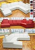:::: MODELL ANGELINA: DESIGNER WOHNLANDSCHAFT LEDER LOOK (6 FARBEN, 2 AUSRICHTUNGEN)  KOSTENLOSER...