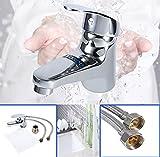 Silber Badarmatur Wasserhahn Waschtisch Mischbatterie Waschbecken Einhebelmischer Für kaltes und...