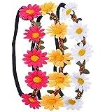 3 Stück Daisy Blumen Stirnband Haarband Kopfband Krone mit justierbaren elastischen Band für...