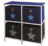 Kommode Stern + 4 Schubladen Schrank Regal Aufbewahrung Kinderzimmer Stoff Box