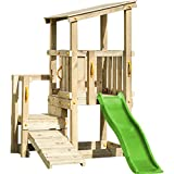 Blue Rabbit 2.0 Spielturm CASCADE mit Rutsche 1,75 m apfelgrün + Kletterrampe Kletterturm Holzturm...