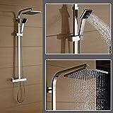 Auralum® Duschset mit Thermostat und Höhenverstellbar ca. 82 bis 122cm Kopfbrause 20x20cm Inkl....