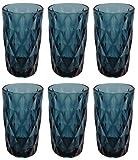 Vintage 6 Teile Set Rombus König Trinkglas Glas Gläser Weingläser Wasserglas Longdrinkglas (blau)