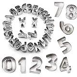 STARUBY 34er Set Ausstechformen Buchstaben Zahlen Fondant Ausstecher Weihnachtsausstechformen Set...