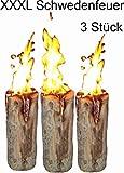 3 Stück Schwedenfeuer Baumfackel Finnenfackel Gartenfackel Fackel Höhe = 60 cm; Ø = 15-20 cm