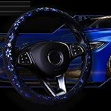 Auto Lenkrad Abdeckung Shiny Snowflake 4 Farben Anti-Rutsch-Niedlich F¨¹r 15 Zoll Frauen blau