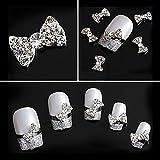 Joyeee 10 Stück 3D Strasssteine für Nägel - Weißer Diamant Schleife - Nagel-Kunst-Funkeln DIY...
