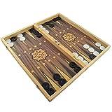 Großes XXL Backgammon Spiel 50 x 47 cm klappbar mit Holzspielbrett