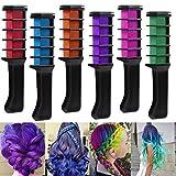 Rechoo 6 PCS Haarentfärber Party Cosplay Haar Kreide Hair Färbe-Werkzeug Lange temporäre Shimmer...