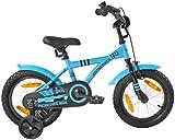 PROMETHEUS Kinderfahrrad 14 Zoll Jungen und Mädchen in Blau & Schwarz mit Stützrädern |...
