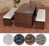 CLP Poly-Rattan Gartenbar Set CORUNA, 2 x Sitzbank ca. 160 x 40 cm, Bar-Tiisch 180 x 85 cm,...