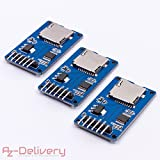 AZDelivery 3er Set SPI Reader Micro Speicher SD TF Karte Memory Card Shield Modul für Arduino