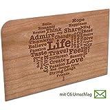 Grußkarte aus Holz - Life Herz mit Umschlag