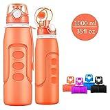 Bepack faltbare Sport Flasche, 1000 ml (35 Unzen) faltbare Silikon Flasche Leck-Proof Medical Grade...