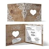 Lasergeschnittene Hochzeit Einladungskarten (30 Stück) - Rustikal mit weißer Spitze -...