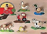 Steckpuzzle Holzspielzeug Bauernhof Tiere Traktor 7 Teile ab 1 Jahr Made in Germany