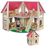 klappbares Puppenhaus von howa, incl. Möbel und Puppen 7013