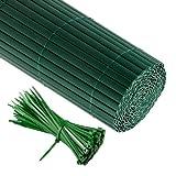 JAROLIFT PVC Sichtschutzzaun, Sichtschutz-Matte 200 x 900cm (1x 4m + 1x 5m Länge), grün inkl. 100...