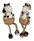 2x Deko Figur Kantenhocker Kuh Junge Mädchen, Ton weiß braun, 18 cm, Dekofigur Kantensitzer...